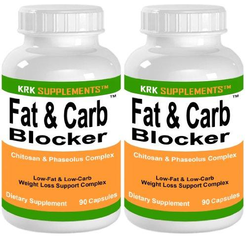 2 bouteilles de graisse et Carb Blocker avec Phaseolus vulgaris (haricot blanc Extrait) Pills chitosane Extreme Diet Weight Loss 180 Nombre de Capsules KRK suppléments
