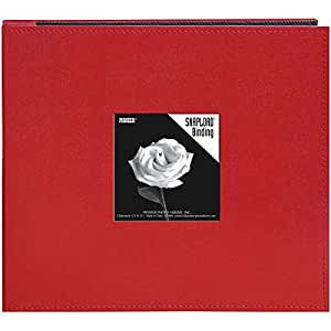 Pioneer 8 Inch by 8 Inch Snapload Sewn Leatherette Frame Cover Memory Book, Red