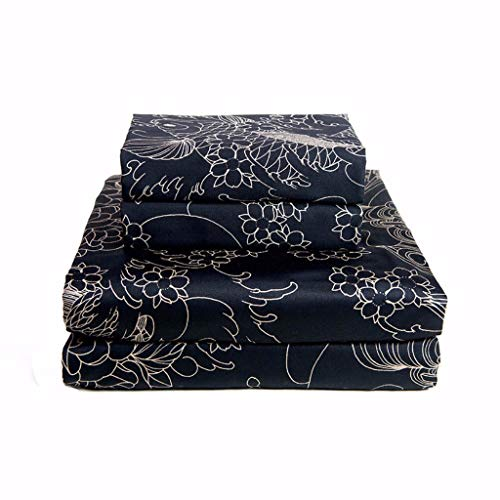 Sin in Linen Geisha Moon Tattoo Sheets, Black and Gold Japanese Inspired Bedding]()
