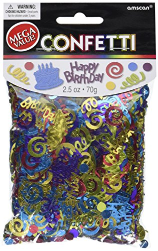 Happy Birthday Type Embossed Confetti, 1 Pieces, Made from Foil, Birthday, 2 1/5oz by (Birthday Party Confetti)