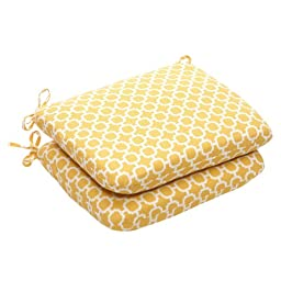 Pillow Perfect Indoor/Outdoor Yellow/White Geometric Round Seat Cushion, 2-Pack