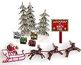 CakeSupplyShop Santa Sleigh Reindeers Christmas Holiday Trees & Presents Cake Decoration Topper
