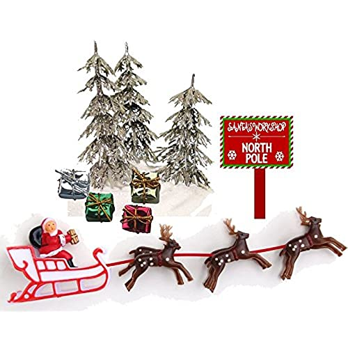 cakesupplyshop santa sleigh reindeers christmas holiday trees presents cake decoration topper - Christmas Cake Decorations Amazon