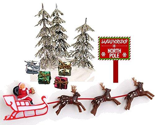 (CakeSupplyShop Santa Sleigh Reindeers Christmas Holiday Trees & Presents Cake Decoration Topper)