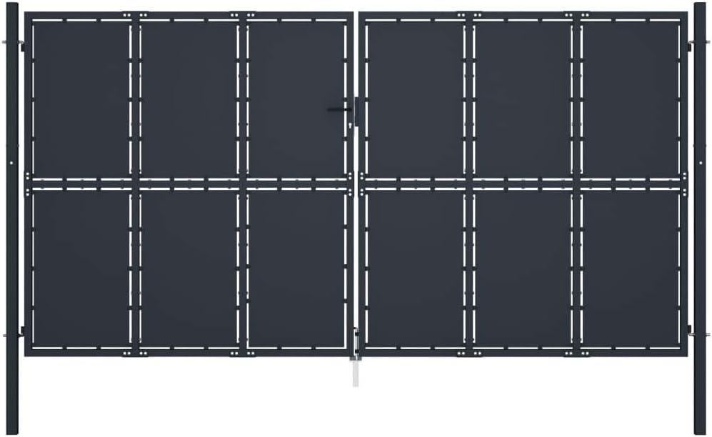 Tidyard Gitterzauntor Gartentor Garten-Zauntor Zaun Tor aus Stahl Mit 2 soliden Pfosten Mit stabilen Scharnieren,Fl/ügeltore Gartent/ür Zaunt/ür Gartent/üre Zauntor,Anthrazit,Diverse Gr/ö/ßen