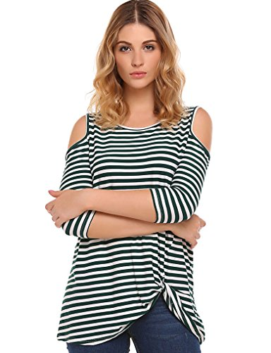 Halife Womans Cold Shoulder Shirt Striped 3/4 Sleeve Casual Scoop Neck Tops Tee (S, (Green And White Striped Leggings)