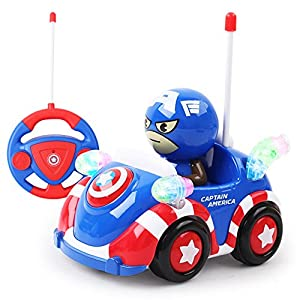 Toy, Play, Game, Disney 2017 New Hot Marvel Spiderman Captain Xmas Toys Music Light Remote Control RC Car Christmas Gifts for Boys Kids Auto Show, Kids, Children