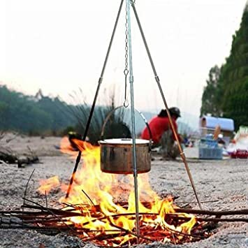 Amazing Camping Tripod Campfire Cooking Dutch Oven Tripod Adjustable Foldable  Hanging Pot Campfire Grill Stand And Lantern