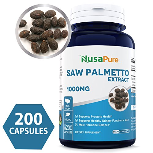 Best Saw Palmetto Extract 1000mg per Caps 200 Capsules NON-GMO Gluten Free – Healthy Urination Frequency Flow Formula – May Help Block DHT – Made in USA – 100 MONEY BACK GUARANTEE