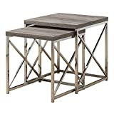 Monarch Specialties I 3255, Nesting Table, Chrome Metal, Dark Table, Table Set, 2 pcs