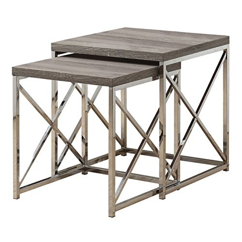 Monarch Specialties I 3255, Nesting Table, Chrome Metal, Dark Table, Table Set, 2 pcs by Monarch Specialties