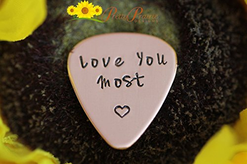 Hand Stamped Guitar Pick (Love You Most - Custom guitar Pick - Present For Him - Love Him Present - Grandpa Gift - Ukulele Gift - Valentine Gifts Hand Stamped Gift)