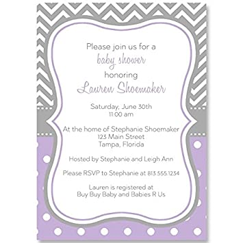 Amazon baby shower invitations baby girl chevron stripes baby shower invitations baby girl chevron stripes polka dots lavender purple filmwisefo