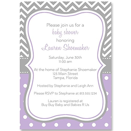 - Baby Shower Invitations Purple Sprinkle Chevron Stripes Dotted Polka Dots Striped Polkadots Lavender Gray Grey Girls It's A Girl Birthday Party Customized Personalize Event (10 Count)