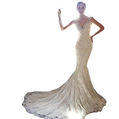 WeWind Damen Elegantes Brautkleid mit Tragen und Schnürung Tüll ...