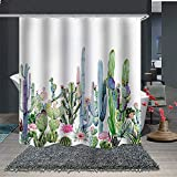 Bright Pink Shower Curtain Maxwelly 3D Varieties of Cactus Shower Curtain Tropical Plant Bathroom Shower Curtain, 72 x 72 Inch Waterproof Summer Bath Curtains, Colorful