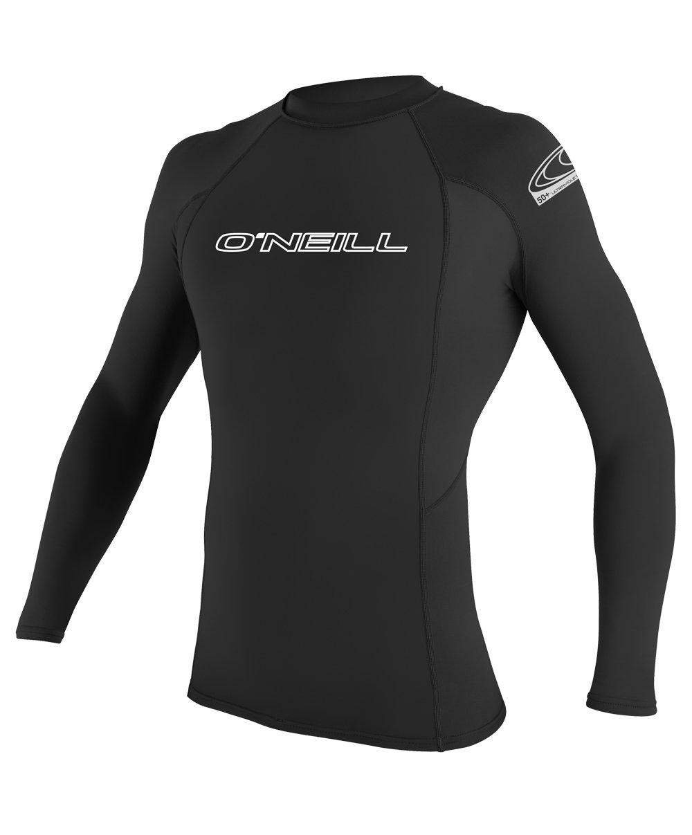 O'Neill Men's Basic Skins UPF 50+ Long Sleeve Rash Guard, Black, Medium