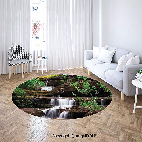 AngelDOU Chair Floor Mat Round Cloakroom Carpet Little Waterfalls Flow on Rock Stairs Surrounded by Long Plants for Home Printed Area Rug.