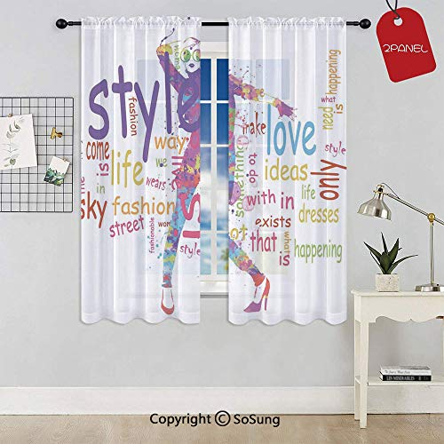 (Stylish Woman Figure with Colorful Stains Love Dresses Happiness Theme Rod Pocket Sheer Voile Window Curtain Panels for Kids Room,Kitchen,Living Room & Bedroom,2 Panels,Each 42x63 Inch,Purple Pink)