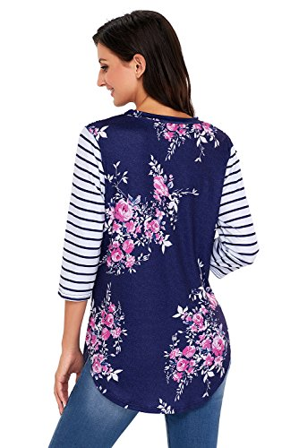 Neuf Bleu marine rayé à manches longues et imprimé floral pour homme Pull Preppy Chemisier de soirée pour femme Tenue décontractée d'été Taille UK 14EU 42