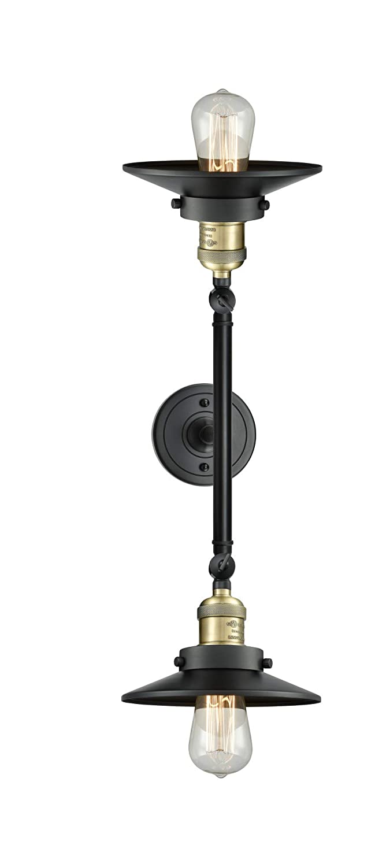 Black Antique Brass Innovations 208L-BAB-M6 2 Vertical Bath Vanity Light