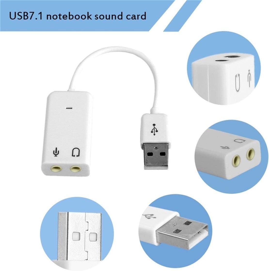 Kongqiabona USB-Soundkarte USB 7.1-Kanal-Externe Soundkarte mit unabh/ängiger externer Soundkarte