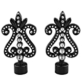 MonkeyJack 1 Pair Decorative Curtain Drapery Rod/Pole Finials Ends for 28mm Curtain Poles - Black-4#, as described
