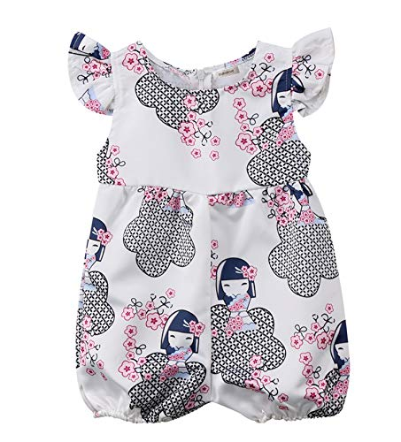 - Styles I Love Infant Baby Girls White Ruffle Cap Sleeve Cute Cartoon Satin Jumpsuit Romper Summer Outfit (100/18-24 Months)