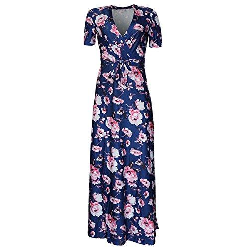 Linaking Hipsters Enveloppent V Cou Cravate Taille Femmes Maxi Fleurs Taille Plus Manches Courtes Robe Boho Robe D'été Pour La Robe De Dame Rose
