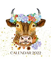Calendar 2022: September 2021 - December 2022 Monthly Planner Mini Art Calendar With Inspirational Quotes & Cow/Bull Watercolor Portraits