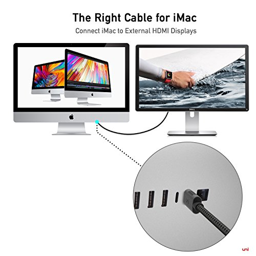 USB C to HDMI Cable(4K@60Hz), uni USB Type-C to HDMI Cable [Thunderbolt 3 Compatible] for MacBook Pro 2019/2018/2017, MacBook Air/iPad Pro 2019/2018, Surface Book 2, Samsung S10, and More-Grey (6ft)