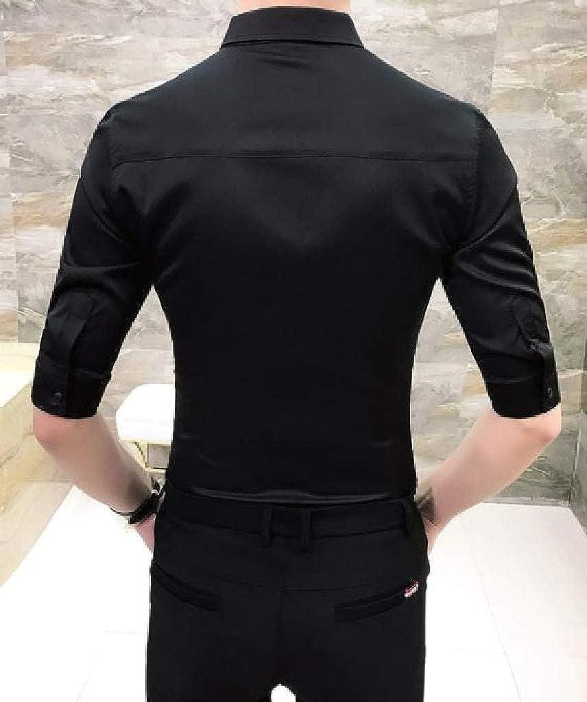 Comaba Mens Evening Club Stitching 3//4 Sleeve Silm Fit Uniform Work Shirt