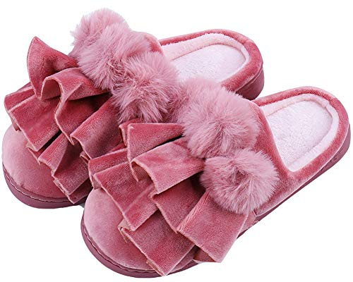 Flouncing Womens Indoor Winter Slippers Slip Red Shoes House Anti ZfxqdRAf