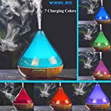 Image of Aromatherapy Essential Oil Diffuser,Werleo 300ml Wood Grain Ultrasonic Cool Mist Whisper Quiet Aroma Air Humidifier 7 Color LED Light Changing 4 Timer Setting Waterless Auto Shut-Off for Spa Baby Home
