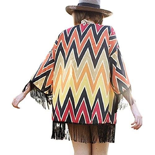 Manteau Châle Femme feitong Shirt Manche Transer Kimono Chandail 3 s Femmes xl Lâche vous Fille De Soie Imprimer Cardigan En Mode Dames ® Boho Blouse Couvrez Manteaux Rouge 4 Mousseline tHqqwxAB