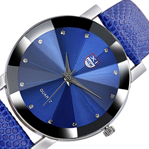 - Wensltd Men's Classy Stainless Steel Quartz Military Sport Leather Band Dial Wrist Watch (Blue)