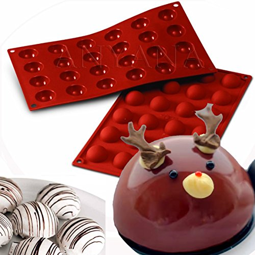 Anyana 2Pcs 24 Cavity Semi Sphere Half Round Dome Silicone Mold Chocolate Teacake Baking Tray Mold Soap Bomb Lotion Bars Pancakes Cake Pudding