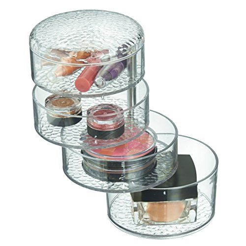 InterDesign Rain Pivoting Cosmetic Organizer with Lid for Vanity Cabinet to Hold Makeup, Beauty Products - Clear
