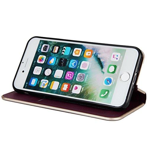Funda iPhone 7,SainCat Funda de cuero sintético tipo billetera de Suave PU Carcasa Con Tapa y Cartera,Fuerte Cierre Magnético,Ranuras para Tarjetas y Billetera Funda de Flip Ranuras Tarjeta Slots Func Borgoña