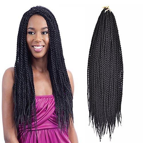 Ombre Sénégalais Twist Cheveux Crochet tresses coiffures 2S Pretwist Box Braid Crochet Extensions de cheveux 45,7cm 30strands 75gram/Lot (45,7cm 5pcs, 1B)