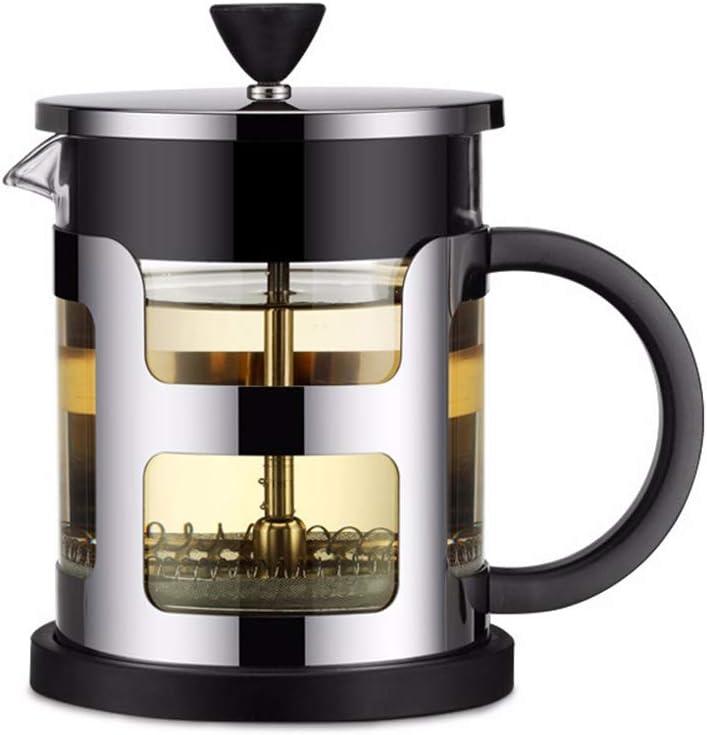 French Press Tetera de acero inoxidable con filtro de té y tetera, tetera, cafetera 600 ml