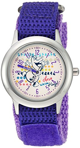 Disney Girl's 'Frozen Olaf' Quartz Stainless Steel and Nylon Casual Watch, Color:Purple (Model: WDS000207)