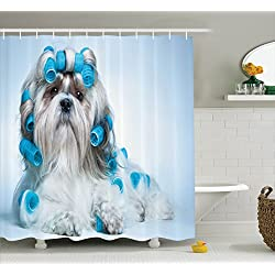 Dog Lover Decor Collection Shower Curtain Shih Tzu Dog With Curlers Grooming Hairstyle Salon Front