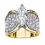 Slendima Fashion Marquise Cut Shiny CZ Cubic Zirconia Finger Ring Women Wedding Anniversary Jewelry Gift US 8