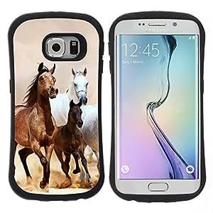 """Pulsar iFace Series Tpu silicona Carcasa Funda Case para Samsung Galaxy S6 EDGE / SM-G925(NOT FOR S6!!!) , Caballos Galopando Mustang piel de Brown"""""""