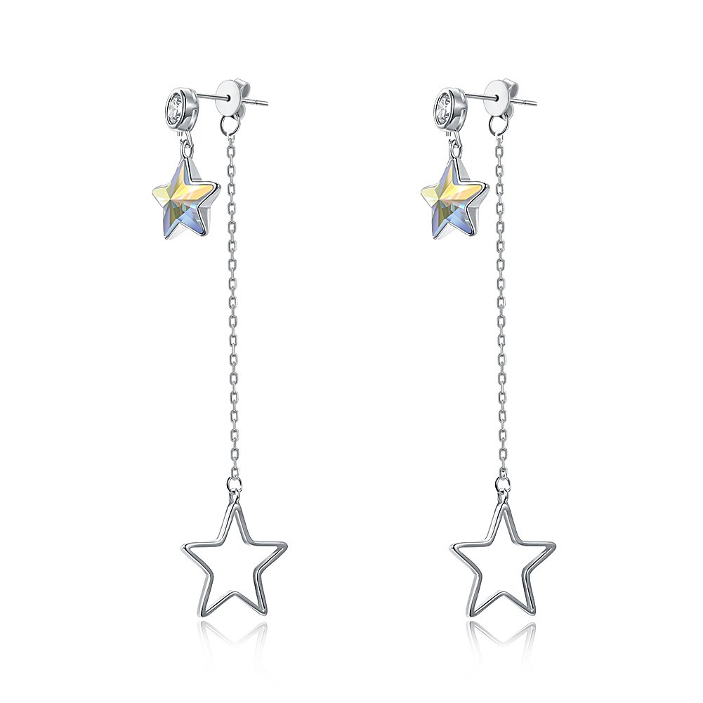 BEMI Elegant Swarovski Crystal Star Drop Earring 925 Sterling Silver Long Chain Dangle Earrings for Girls