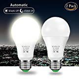 outdoor automatic lighting - Dusk to Dawn Outdoor Automatic Led Sensing Light Bulb Led Lighting Bulbs With Sensors Socket Lamp Lights E26 7W Auto On/Off(Warm White, 2 Pack)