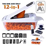 12-in-1 Vegetable Chopper Slicer Cutter Peeler, Onion Chopper Dicer, Cheese Grater, Lemon Squeezer, Egg White Separator, Egg Slicer. Best Mandoline Slicer, Bonus Cut-Resistant Gloves and Brushes