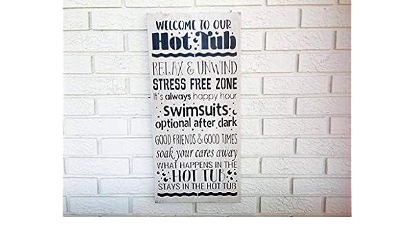 Soak Your Cares Away Hot Tub Pool Bathroom Decor Rustic Wood Sign