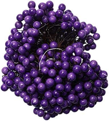 人工泡ベリー ウェディングブーケ DIY 髪飾り フラワーアレンジメント 写真の小道具 全5色 - 紫